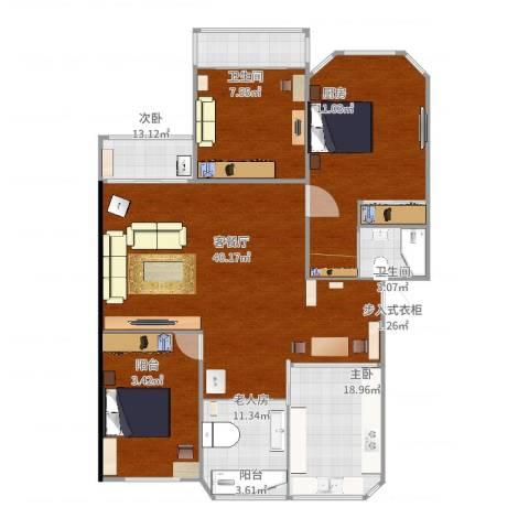 欧典家园3室2厅2卫1厨142.00㎡户型图