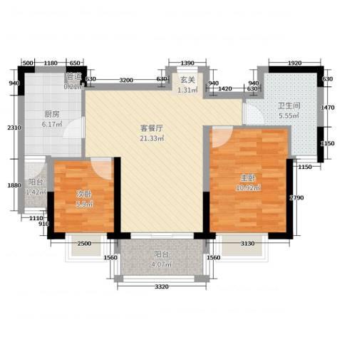 恒大・御景半岛2室2厅1卫1厨82.00㎡户型图
