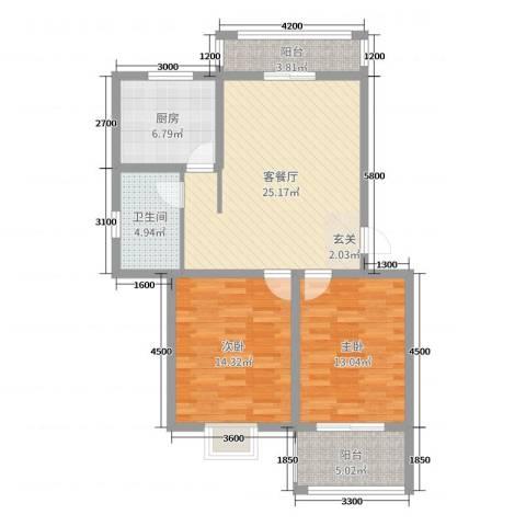 藤花园2室2厅1卫1厨95.00㎡户型图