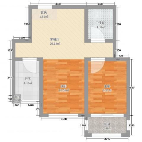 北斗星城1室2厅1卫1厨59.00㎡户型图