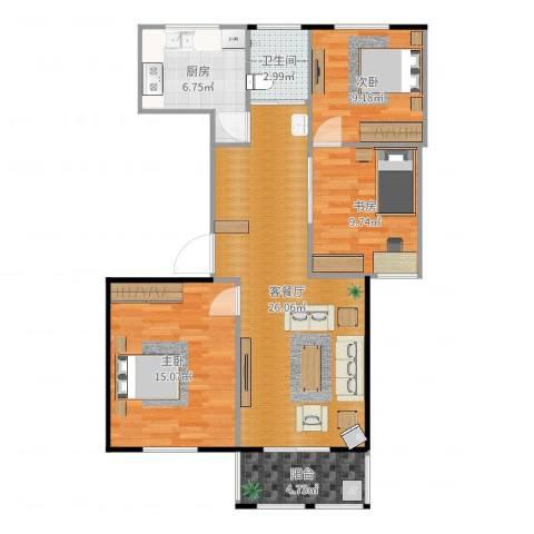 腾飞新城3室2厅1卫1厨93.00㎡户型图
