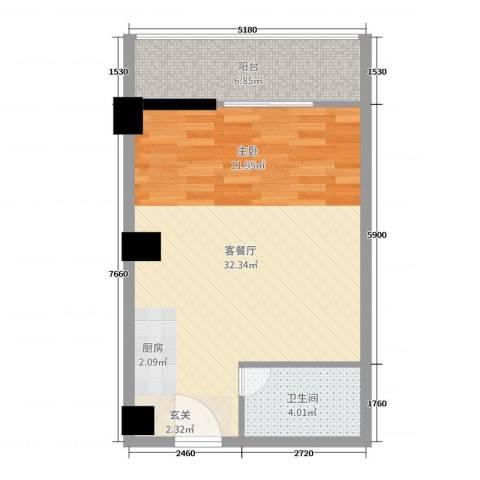 立欣东方新城2厅1卫0厨54.00㎡户型图