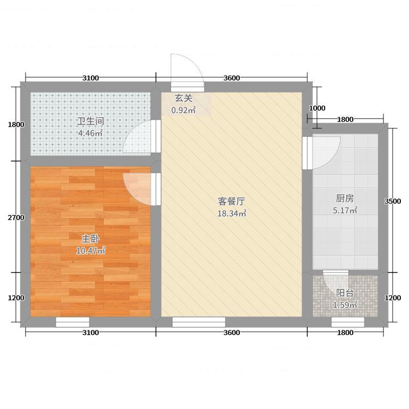 阳光嘉城58.00㎡E1户型1室1厅1卫1厨