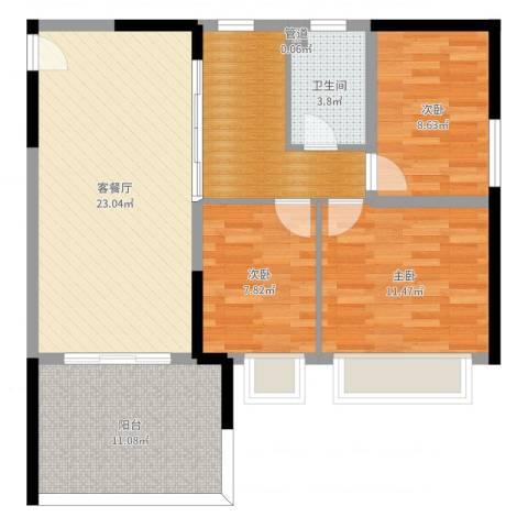 DADA的草地3室2厅1卫1厨93.00㎡户型图