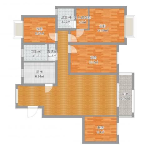 怡和花园4室2厅2卫1厨132.00㎡户型图