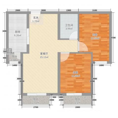 滨江壹号住宅2室2厅1卫1厨93.00㎡户型图