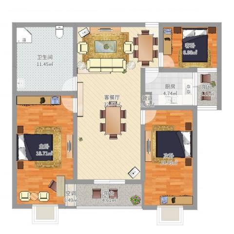 长风新城公元20103室2厅1卫1厨121.00㎡户型图