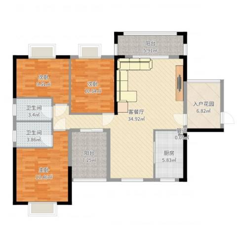 海悦云天3室2厅2卫1厨127.00㎡户型图