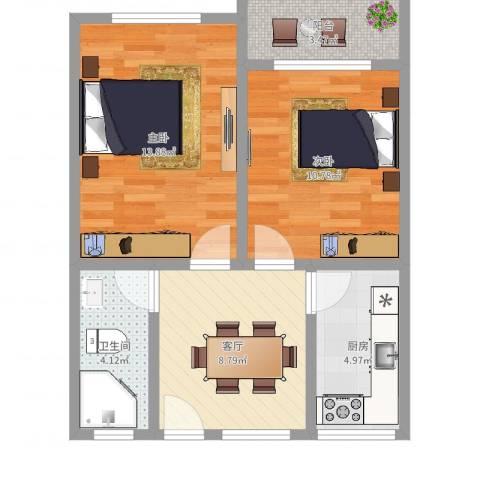仁德路67弄10支弄小区2室1厅1卫1厨58.00㎡户型图