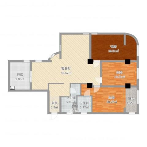 浦东金浦花园3室2厅2卫1厨147.00㎡户型图