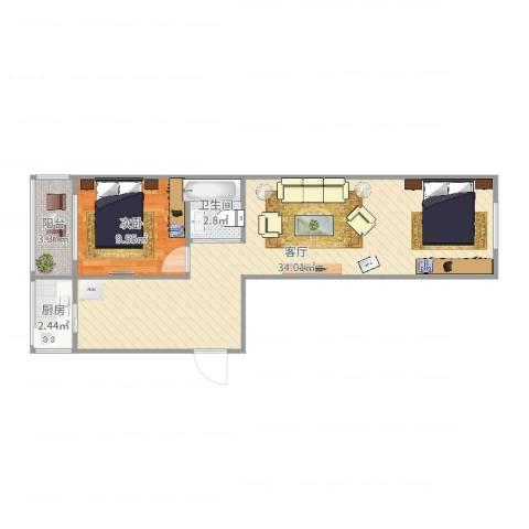 临池里1室1厅1卫1厨65.00㎡户型图