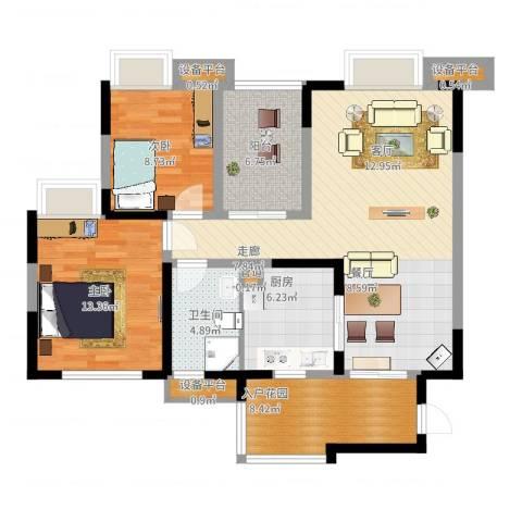 中海兰庭2室2厅1卫1厨117.00㎡户型图