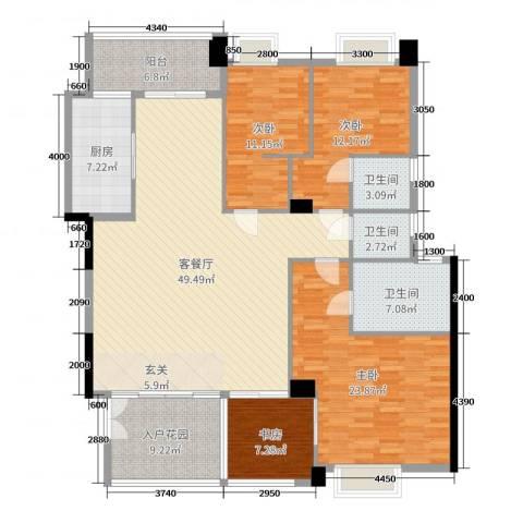 景观一品4室2厅3卫1厨174.00㎡户型图