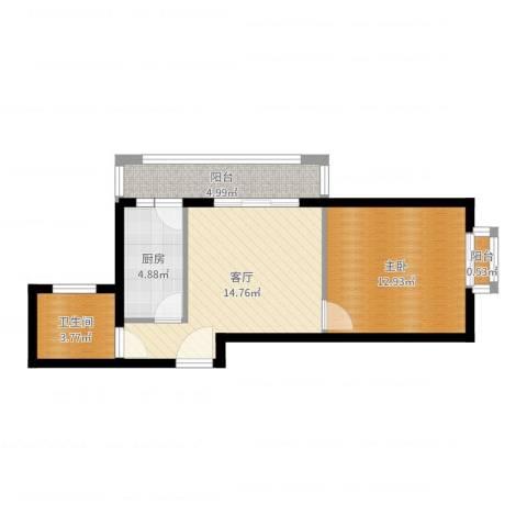 新世家小区1室1厅1卫1厨52.00㎡户型图