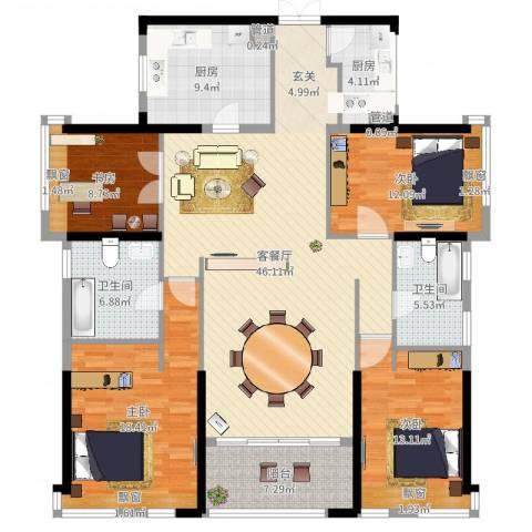 万科珠宾花园4室2厅4卫2厨185.00㎡户型图