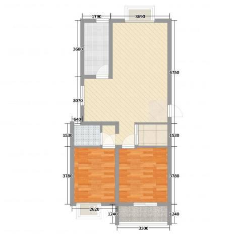众兴华庭2室2厅1卫1厨117.00㎡户型图