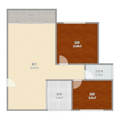 天河山庄2室1厅1卫1厨91.00㎡户型图