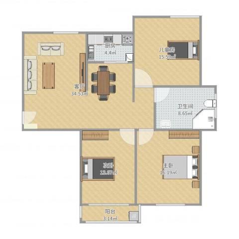 水运雅居3室1厅1卫1厨120.00㎡户型图