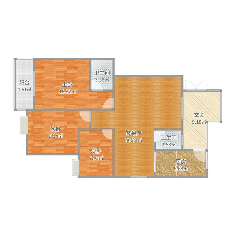 金城高尔夫二期128平A户型三室两厅两卫