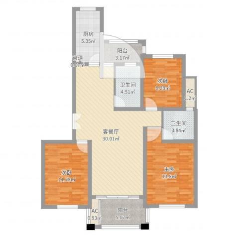 陆宇中央郡3室2厅3卫3厨88.02㎡户型图