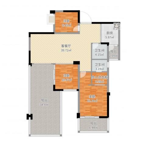 世纪城天鹅湖3室2厅2卫1厨171.00㎡户型图