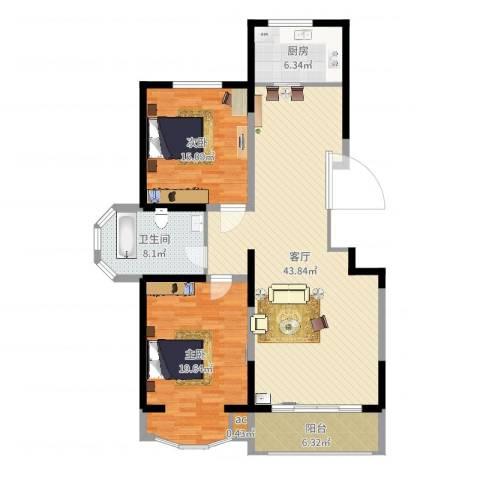 江南新城美墅邻2室1厅2卫1厨125.00㎡户型图