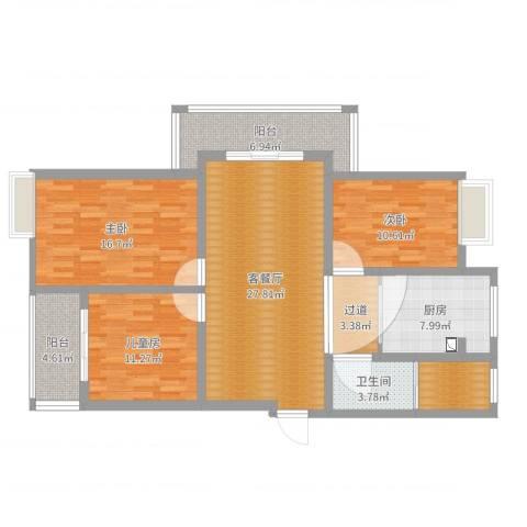 森松花园3室2厅1卫1厨121.00㎡户型图