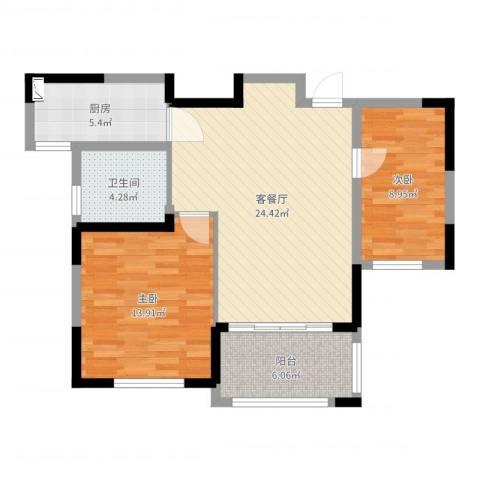 钻石铭苑2室2厅1卫1厨79.00㎡户型图