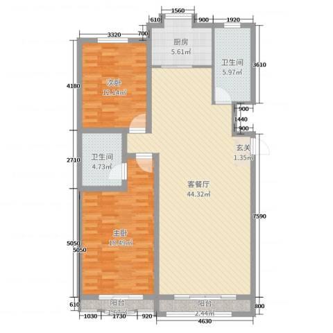 九龙明珠2室2厅2卫1厨116.00㎡户型图
