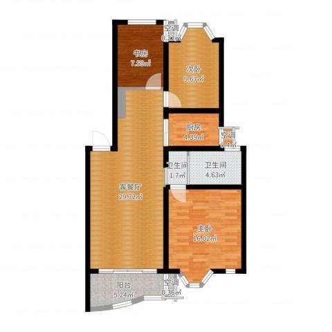 金王府3室2厅2卫1厨100.00㎡户型图