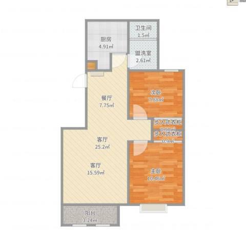 中德亚运村北区2室3厅1卫1厨72.00㎡户型图