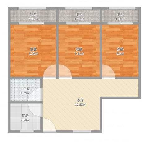 假日苑3室1厅1卫1厨57.00㎡户型图