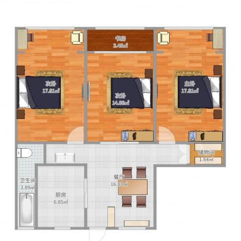 假日苑4室1厅1卫1厨103.00㎡户型图
