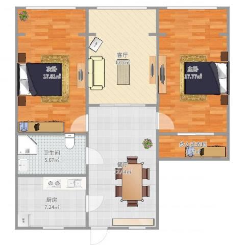 假日苑2室2厅1卫1厨104.00㎡户型图