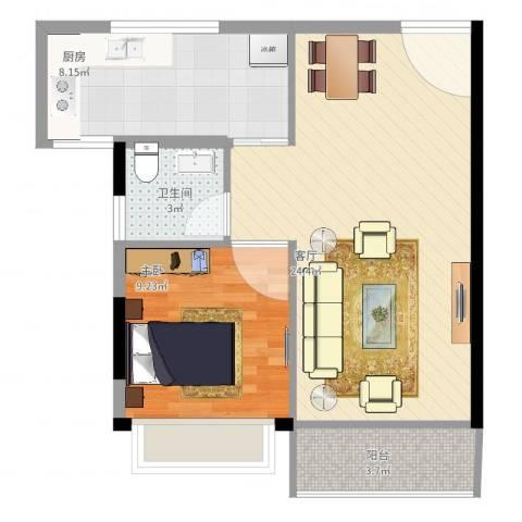 东方新城1室1厅1卫1厨67.00㎡户型图