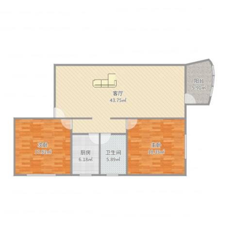 剑河小区2室1厅1卫1厨122.00㎡户型图