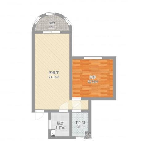 剑河小区1室2厅1卫1厨58.00㎡户型图