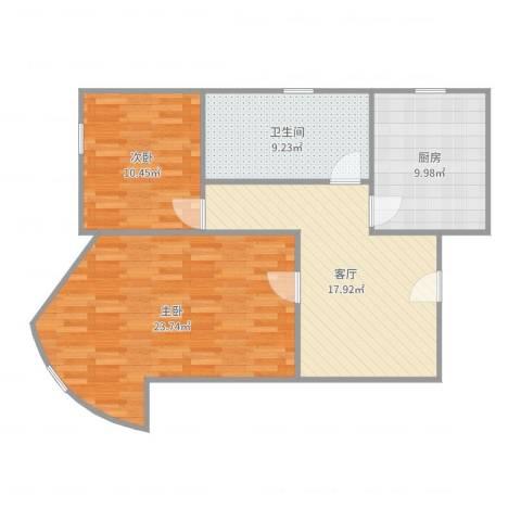 剑河小区2室1厅1卫1厨89.00㎡户型图