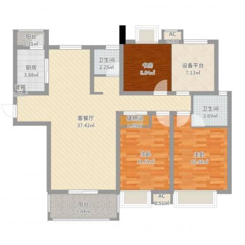 紫晶广场3室2厅2卫1厨120.00㎡户型图