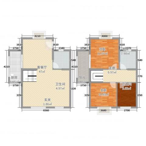 西安罗马嘉园3室2厅2卫1厨113.19㎡户型图