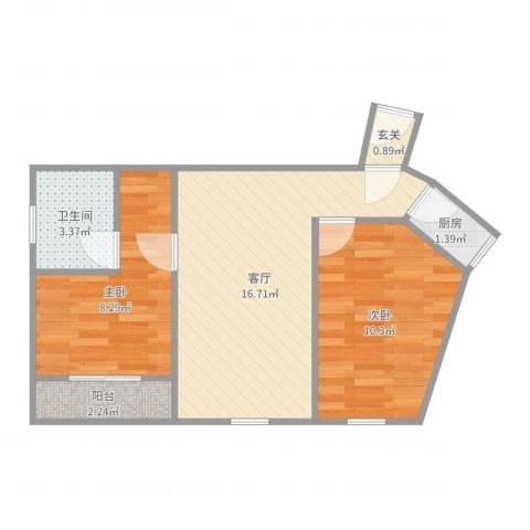 开城公寓2室1厅1卫1厨54.00㎡户型图