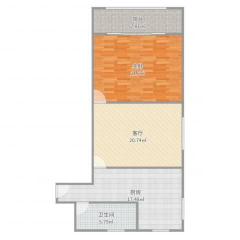 虹古小区1室1厅1卫1厨92.00㎡户型图