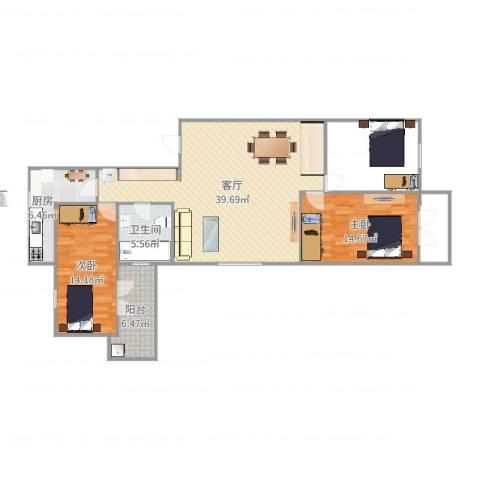 虹古小区2室1厅1卫1厨109.00㎡户型图