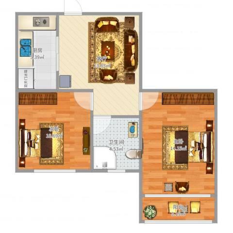 虹古大楼2室1厅1卫1厨64.00㎡户型图