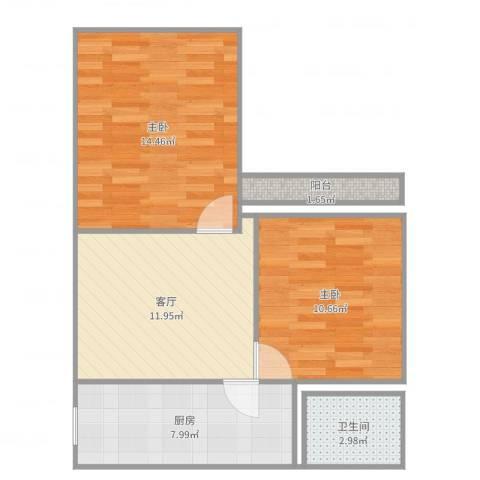 虹纺小区2室1厅1卫1厨62.00㎡户型图