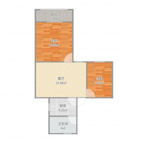 虹纺小区2室1厅1卫1厨61.00㎡户型图