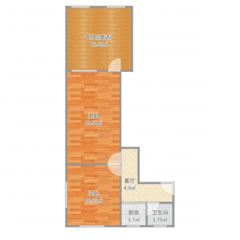 虹纺小区2室1厅1卫1厨59.00㎡户型图