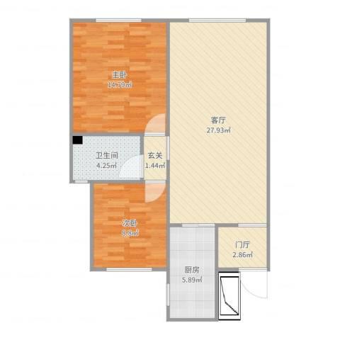 中交樾公馆2室1厅1卫1厨82.00㎡户型图