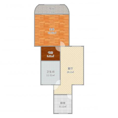 虹城公寓2室1厅1卫1厨107.00㎡户型图