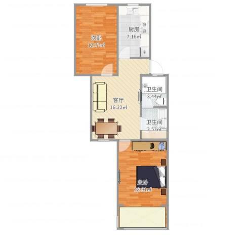 虹城公寓2室1厅2卫1厨78.00㎡户型图